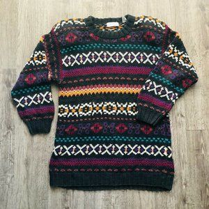 VTG Lord & Taylor Multi-Color 3/4 Sleeve Sweater